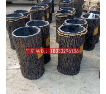水泥仿木垃圾桶水仿木果皮箱河北水泥仿木雕塑制作厂家垃圾桶