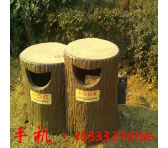 景观水泥仿木垃圾桶双桶仿木环卫垃圾桶混凝土户外仿木垃圾箱