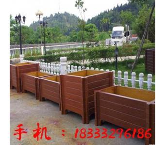 厂家定制木纹水泥花箱道路组合户外仿木花盆防腐绿化工程花箱