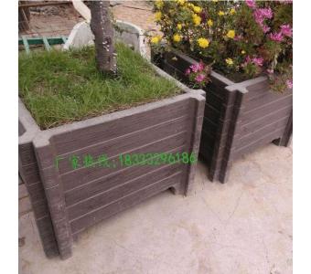 家庭园艺落地组合式水泥仿木花箱 园林广场仿树皮花池花箱