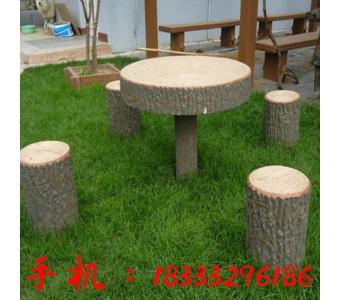 定做田园风格户外公园水泥仿木长椅混凝土GRC仿木纹树皮座椅
