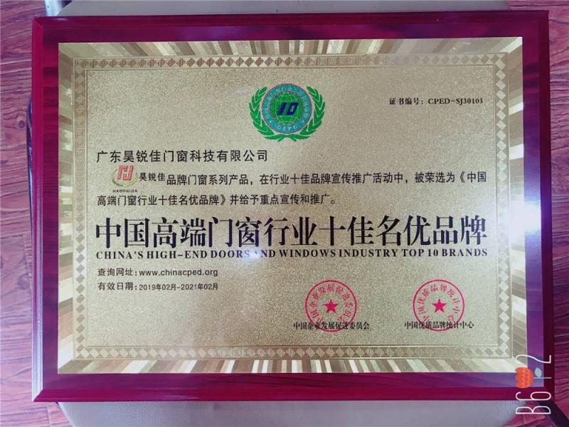 中国高端门窗行业十佳名优品牌